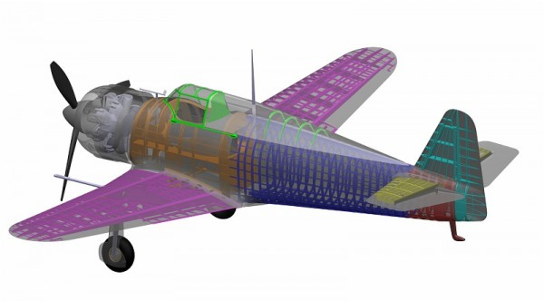 Sections of the MB-152 are shown in colour on the digital model. © Dassault Aviation