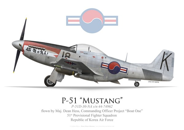 Dean Hess' P-51D Mustang while he commanded Project Bout One in Korea in 1950. (© Gaëtan Marie / Bravo Bravo Aviation)