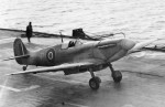 A Supermarine Seafire on HMS Illustrious in February 1943. (Crown Copyright)