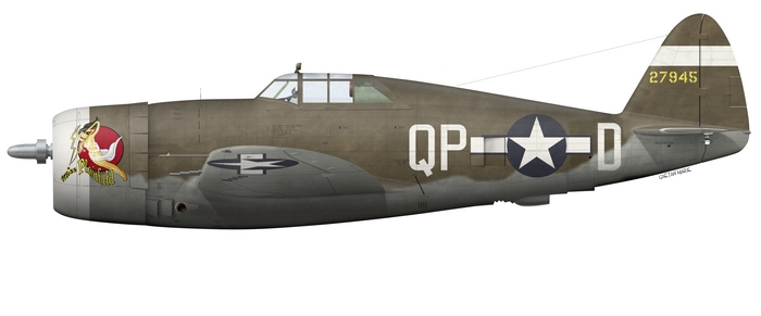 US, P-47D-1-RE, 42-7945, Miss Plainfield, Capt. Steve Pisanos, 334th FS, 4th FG - Scheme 3
