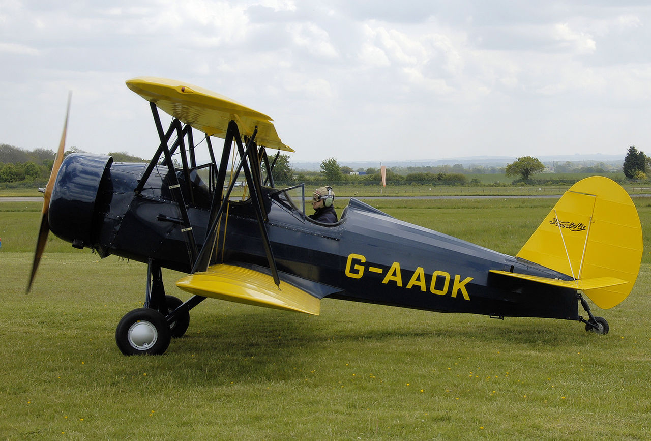 Similar to the 12W, aCurtiss-Wright Travel Air CW-12Q (G-AAOK) at the Great Vintage Flying Weekend rally at Cotswold Airport, Kemble, Gloucestershire, England in 2009. (Photo Adrian Pingstone)