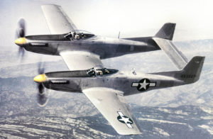 The North American XP-82 Twin Mustang 44-83887 on test flight over Sierras in 1945 (Photo USAF)