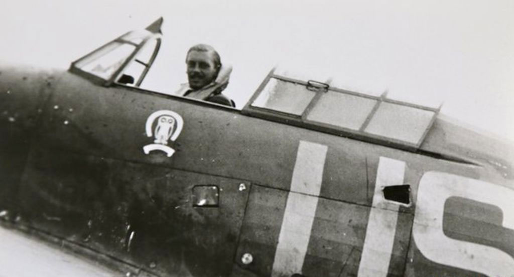 Maurice Mounsdon at the controls of his Hurricane (Photo Crown Copyright)